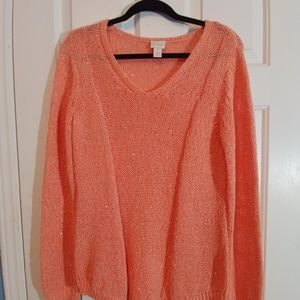 Chico's Sweater V neck Open Weave Sequin Size 1